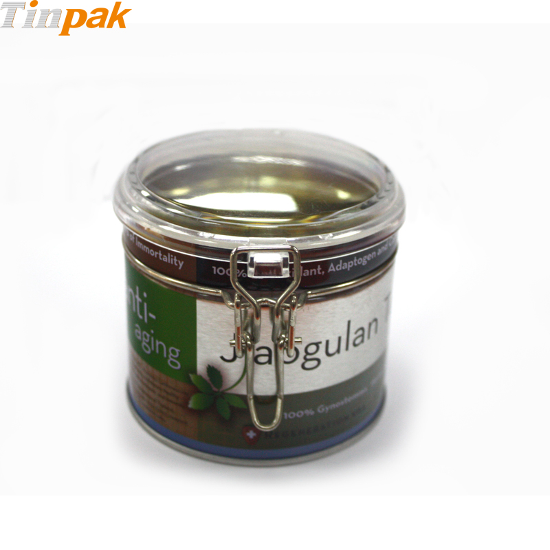 round tin can with clear lid