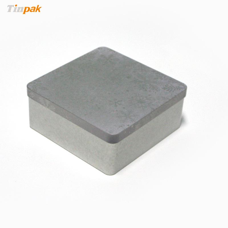 Square plain metal box for household