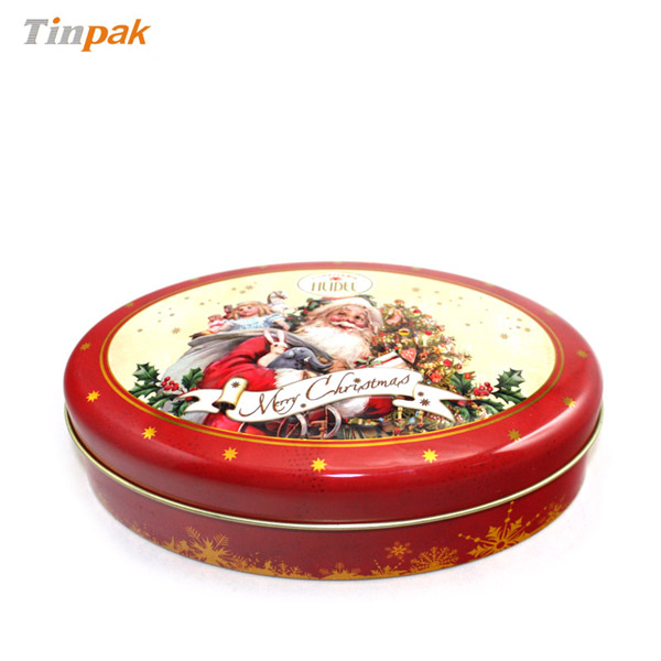 Medium oval chocolate tin with domed lid