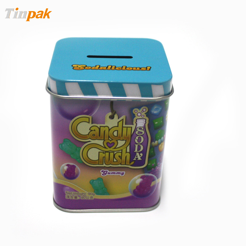 Square Candy Tin Box With Coin Slot