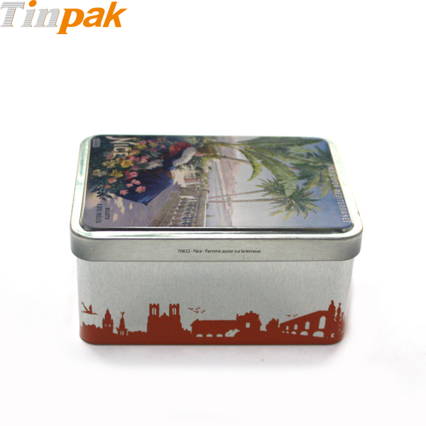 Wholesale vintage tin cookie boxes with hinged lids
