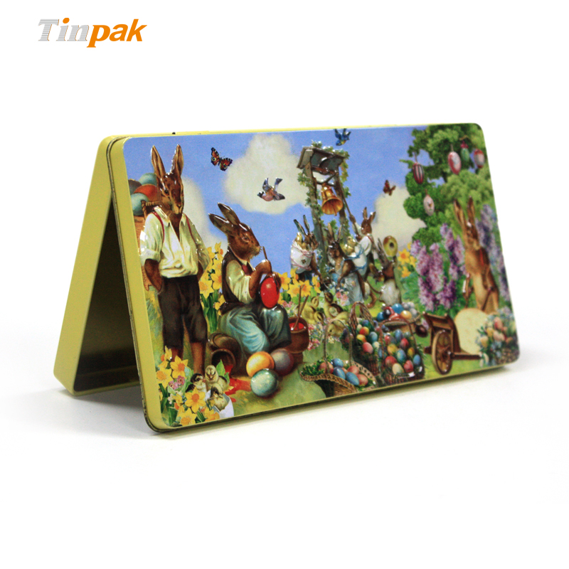 Wholesale Easter rectangular tin box for chocolates