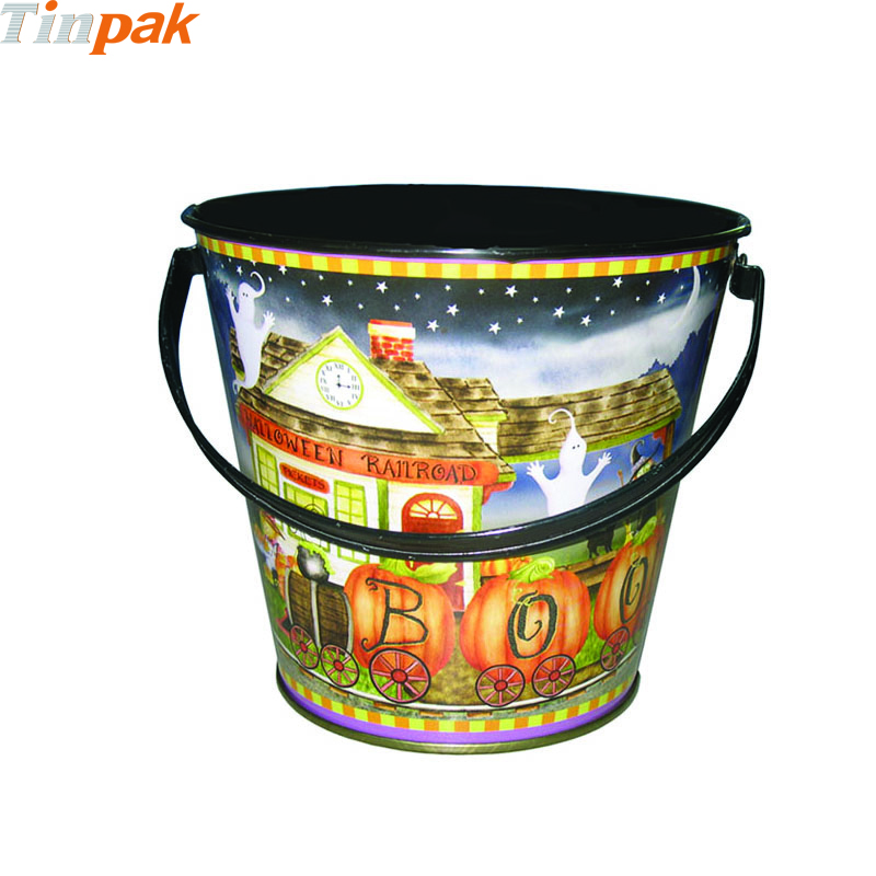 Wholesale Custom Halloween Tin Buckets with Handle