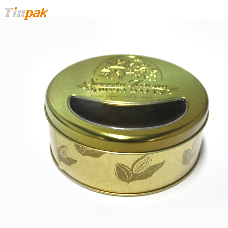 Wholesale premium round flat lid tea tin