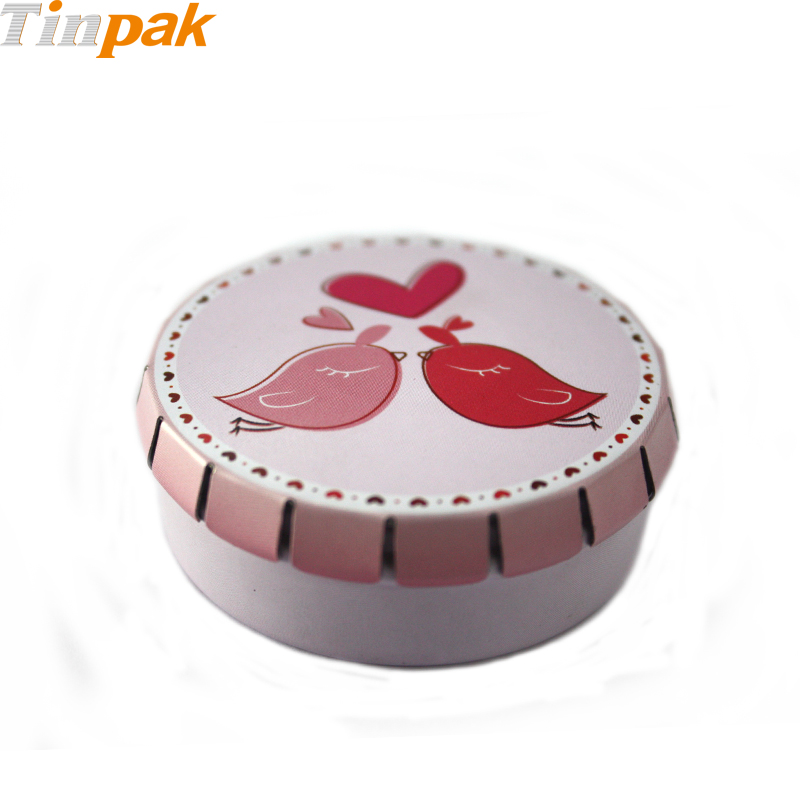 Small Round Metal Click Clack Box for Chocolates
