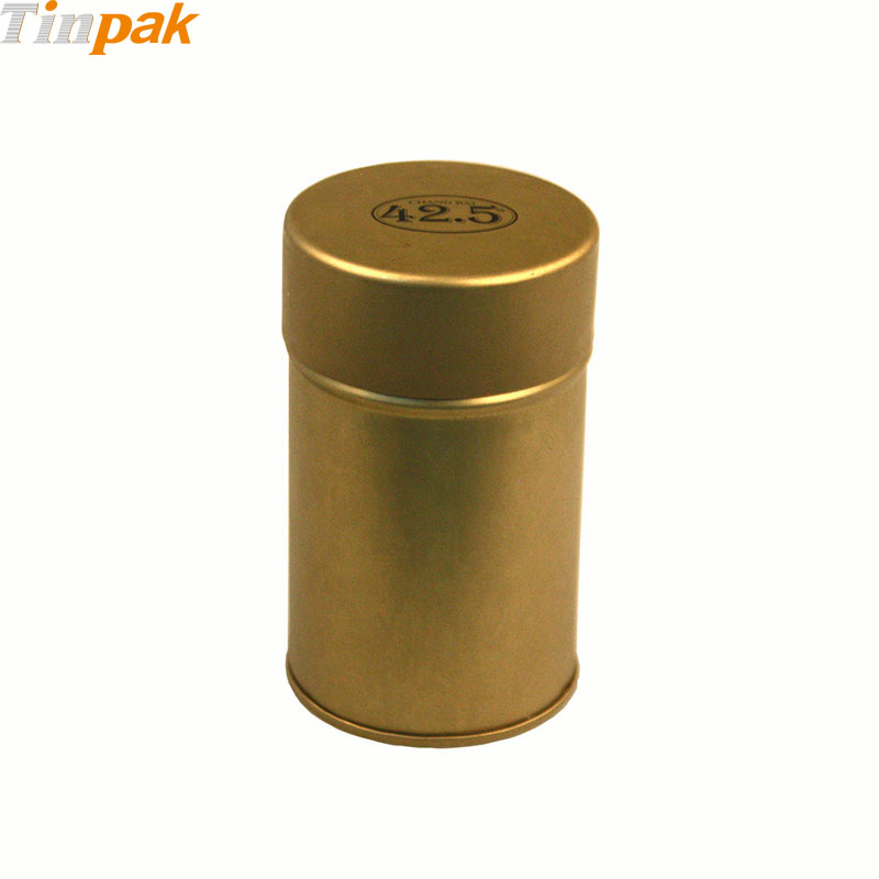 Round metal tea tin storage with inner lid