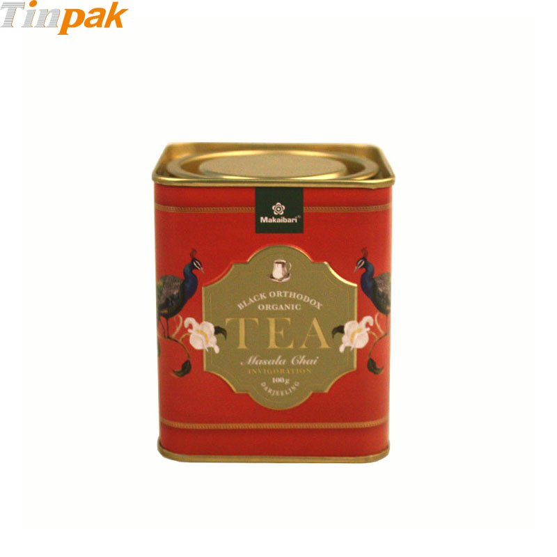 Custom Square Tea Tins with Pry Lid