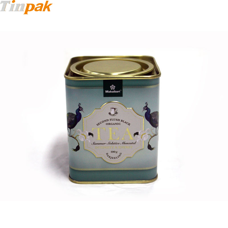 Custom Printed Tea Tin Cans with Lever Top