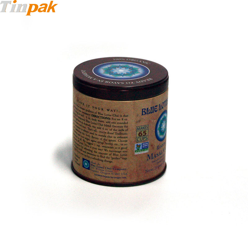 Round Airtight Chai Tea Tin Box