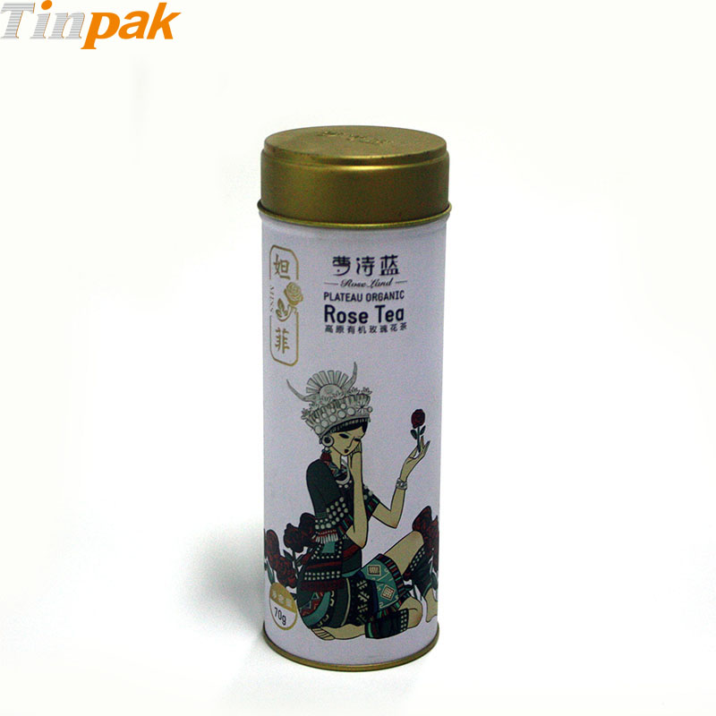 Round Printed Tea Tin Canister