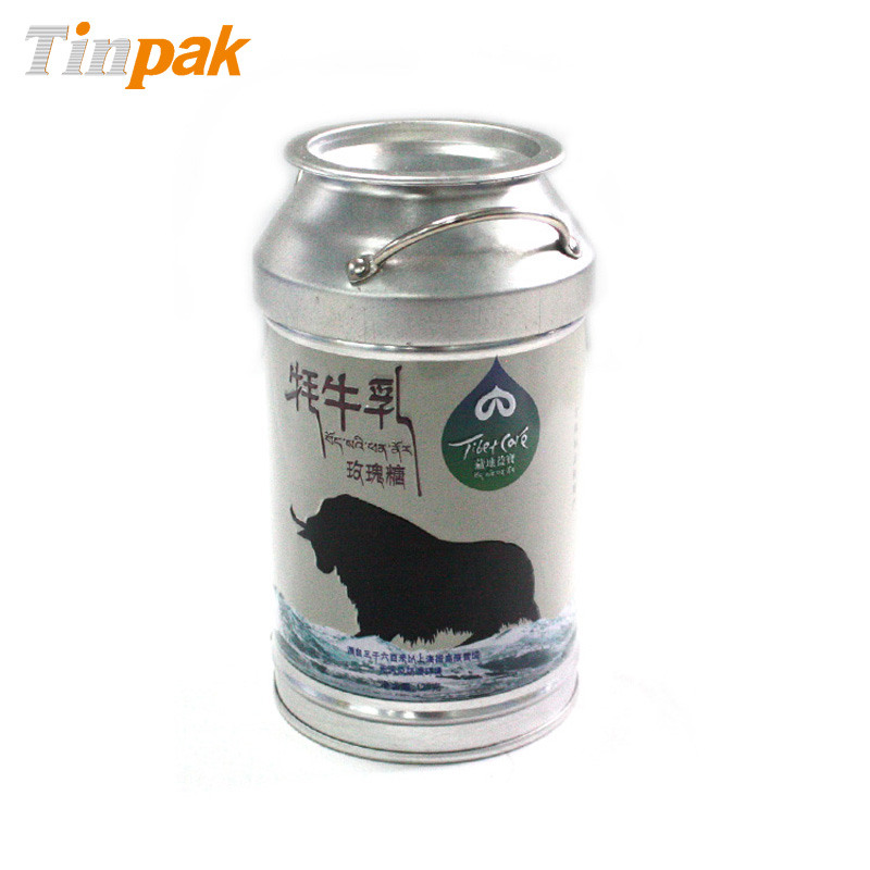 Round Milk Tin Can with Handle