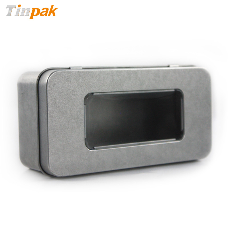 Plain fidget spinner metal tin box with window