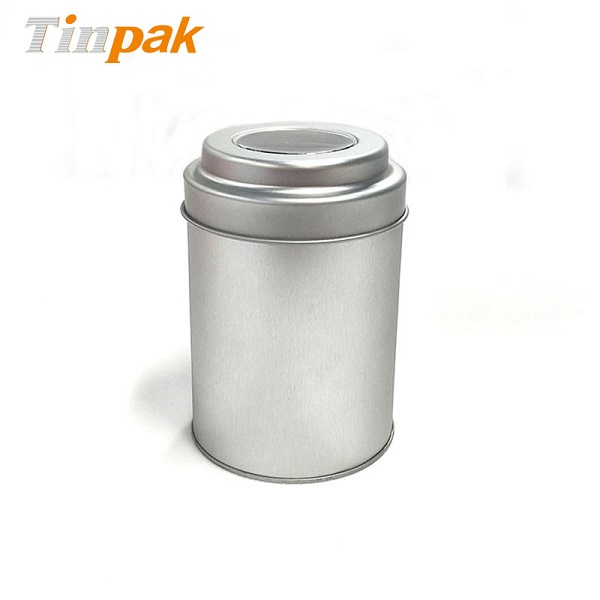 Food grade plain tea tin canister with windowed lid