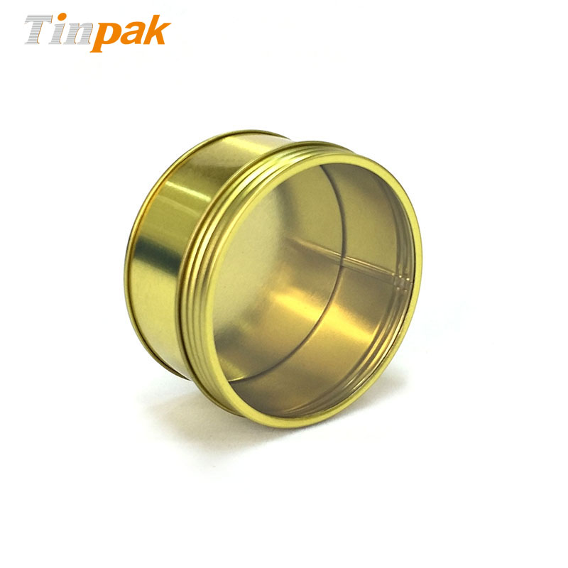Small round tea tin containers with windowed cover