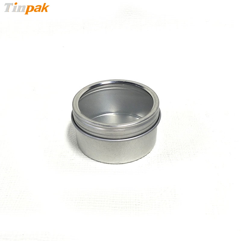 Small screw lid tea tin canisters with clear lid