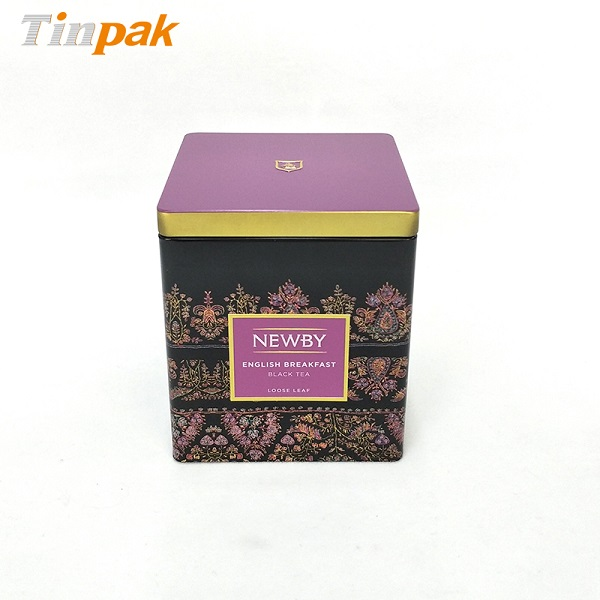 Airtight square tea tin canister with customized logo
